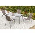 merxx Amalfi Set 5tlg., Stapelsessel & rechteckiger Tisch, taupe