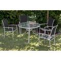 merxx Milano Set 5tlg., Stapelsessel & runder Tisch, schwarz
