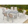 merxx Amalfi Set 7tlg., Stapelsessel & rechteckiger Tisch, champagner