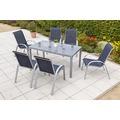 merxx Amalfi Set 7tlg., Stapelsessel & rechteckiger Tisch, marineblau
