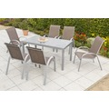 merxx Amalfi Set 7tlg., Stapelsessel & rechteckiger Tisch, taupe