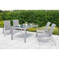 merxx Amalfi Set 5tlg., Stapelsessel & rechteckiger Tisch, diamantbraun Gartenmöbelset