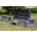 merxx Livorno Lounge Set, verschiedene Aufstellmöglichkeiten, mit Dach und Kissen, grau
