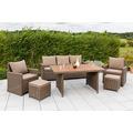 merxx Rivello Set, 1 Bank, dreisitzig, 2 Sessel, 2 Hocker, inkl. Kissen, 1 Tisch, natur/Akazienholz