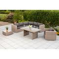 merxx San Priamo Eckset, Eckbank inkl. Sitz- und Rückenkissen, 1 Tisch, 1 Sessel inkl. Sitz- und Rückenkissen, 1 Beistelltisch