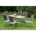 merxx Siena Set 7tlg, Stapelsessel & rechteckiger Tisch Gartenmöbelset