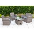 merxx Teramo Lounge Set, zerlegbar, inkl. Kissen, 2 Sessel, 1 Bank, 1 Tisch, höhenverstellbar, graues Geflecht