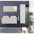 Möbilia Badezimmer Set 120 cm, 3 tlg. weiß Hochglanz 15020004