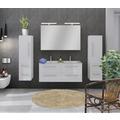 Möbilia Badezimmer Set 120 cm, 4 tlg. weiß Hochglanz 15020008