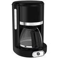 Moulinex Glas-Kaffeemaschine Soleil Hochglanz-Schwarz mit Edelstahl-Applikationen