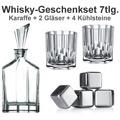 Nachtmann Whisky-Set Aspen 7er Set (1 Dekanter/Karaffe + 2 Whiskygläser + 4 Whiskysteine)