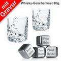 Nachtmann Whisky-Set Sculpture mit Gravur 6tlg. Set (2 Whiskygläser + 4 Whiskysteine mit Wunschgravur)