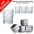 Nachtmann Whiskyset Bossa Nova mit Wunschgravur 8tlg. Set (4 Whiskygläser + 4 Whiskysteine mit Gravur)