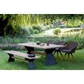 Niehoff Garden Bank NERO Sitzfläche Teak massiv recycelt Gestell Winkelwange schwarz mit Steg in Teak 160x40 / 46cm