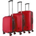 Packenger Premium Koffer 3er-Set Velvet M, L+XL in Rot