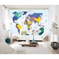 """papermoon Worldmap Fototapete 7 Bahnen """"Silver Editions"""", 350 x 260 cm, Weltkarte 081"""