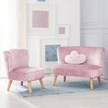 Roba Bundle 'Lil Sofa' besteht aus Kindersofa, Kindersessel, Dekokissen Wolke in rosa/mauve