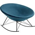 SalesFever Schaukelstuhl blau Webstoff schwarz lackiertes Gestell, runde Sitzschale