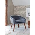 SalesFever Sessel grau Samt 100% Polyester, mit Armlehnen, abgerundeter Rücken- und Armlehnbereich