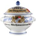 Seltmann Weiden Terrine Löwenkopf mit Deckel 2,00 l Compact Bayern 27110 blau, gelb, rot/rosa