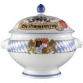Seltmann Weiden Terrine Löwenkopf mit Deckel 3,00 l Compact Bayern 27110 blau, gelb, rot/rosa