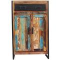 SIT-Möbel BALI Hochkommode 2 Holztüren, 1 Schublade bunt mit antikschwarz
