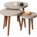 SIT-Möbel CEMENT Beistelltisch 40 x 40 cm rund, mit Logo Tom Tailor Platte grau, Beine nussbaumfarbig