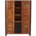 SIT MOX Mehrzweckschrank 2 Schiebetüren, 4 Schubladen, 3 offene Fächer natur mit bunt, Metall antikschwarz