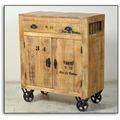 SIT RUSTIC Kommode 2 Türen, 1 Schublade natur antik mit antikschwarzen Beschlägen