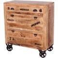 SIT RUSTIC Schuhschrank 1 Schublade, 2 Klappen natur antik mit antikschwarzen Beschlägen