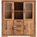 SIT-Möbel SANAM Highboard 2 Glastüren, 2 Holztüren, 3 Schubladen, 4 offene Fächer natur