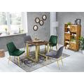 SIT SIT&CHAIRS Stuhl, 2er-Set dunkelgrau Gestell messingfarbig, Bezug dunkelgrau