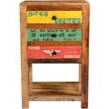 SIT SPEEDWAY Telefontisch 3 Schubladen natur + bunt lackiert
