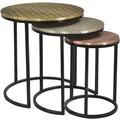 SIT THIS & THAT 3-Satz-Tisch Platten mit Messing, Weißmetall bzw. Kupfer beschlagen, Gestell antikschwarz