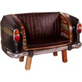 """SIT THIS & THAT Autosofa Recyceltes Autoheck inkl. Sitz- und Rückenkissen aus Kunstleder """"Vintage"""" Braun"""