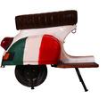 """SIT THIS & THAT Barhocker Roller recyceltes Roller-Heck """"Italien"""" weiß mit italienischer Flagge"""