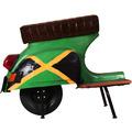 """SIT THIS & THAT Barhocker Roller recyceltes Roller-Heck """"Jamaika"""" grün mit jamaikanischer Flagge"""