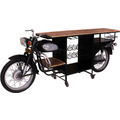 SIT THIS & THAT Weintisch aus einem recycelten Rajdoot-Motorrad, mit Ablage für Flaschen schwarz + natur