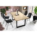 SIT TISCHE & BÄNKE Tisch 140 x 80 cm, Platte hell gekälkt, Gestell schwarz mit Baumkante wie gewachsen Platte hell gekälkt antikfinish, Gestell antikschwarz lackiert