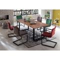 SIT-Möbel TISCHE Tisch 180 x 90 cm, Platte cognacfarbig, Gestell schwarz mit Baumkante wie gewachsen Platte antikfinish, Gestell schwarz lackiert