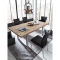 SIT-Möbel TISCHE Tisch 180x90 cm, Wildeiche, silbernes Gestell mit Baumkante wie gewachsen Platte natur, Gestell antiksilbern