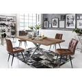 SIT TISCHE Tisch 200x100 cm, Balkeneiche natur geölt  Platte natur, Gestell antiksilbern