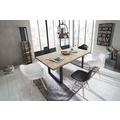 SIT-Möbel TISCHE Tisch 200x100 cm, Wildeiche, schwarzes Gestell mit Baumkante wie gewachsen Platte natur, Gestell antikschwarz