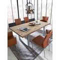 SIT-Möbel TISCHE Tisch 200x100 cm, Wildeiche, silbernes Gestell mit Baumkante wie gewachsen Platte natur, Gestell antiksilbern