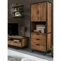 SIT-Möbel TOBA Bücherschrank 2 Türen, 3 Schubladen, 3 offene Fächer natur mit schwarz