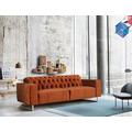 SIT 4SOFA Sofa 3-Sitzer, aufwändig gesteppt Bezug orange-rot, Beine silber