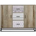 SIT MAILBOX Sideboard 3 Schubladen, 2 Türen natur mit grau gemustert
