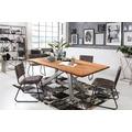 SIT Tisch 200x100 cm, Platte Akazie massiv Gestell Metall antiksilber