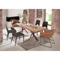 SIT Tisch 200x100 cm, Platte recyceltes Teak, Gestell Metall antikbraun aufgedoppelt