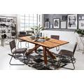 SIT Tisch, 220x100 cm, Platte Balkeneiche geölt, Gestell Metall antikbraun
